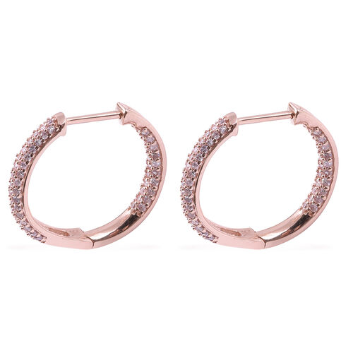 9K Rose Gold Natural Pink Diamond (Rnd) Earrings (with Clasp Lock) 0.75 Ct.