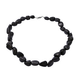 350 Carat Shungite Beaded Necklace in Sterling Silver 18 Inch