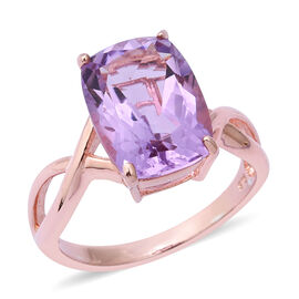 Rose De France Amethyst (Cush 14x10 mm) Solitaire Ring in Rose Gold Overlay Sterling Silver 6.36 Ct.