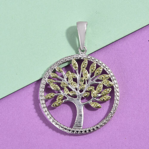 Green Diamond (Rnd) Tree of Life Pendant in Platinum Overlay Sterling Silver, Silver wt 3.64 Gms.