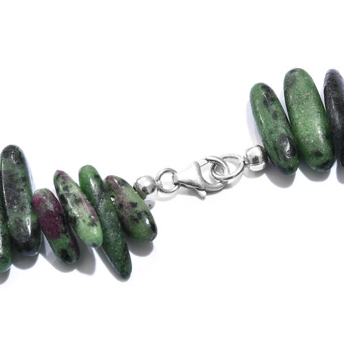 One Time Deal- Extremely Rare 100% Natural Ruby Zoisite Necklace (Size 20) with Lobster Lock in Platinum Overlay Sterling Silver 388.000 Ct.