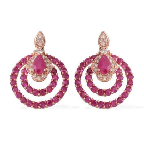 14K Rose Gold AAA Burmese Ruby (Pear), Diamond (G-H/I1-I2) Earrings (with Push Back) 2.010 Ct. Gold wt 3.09 Gms