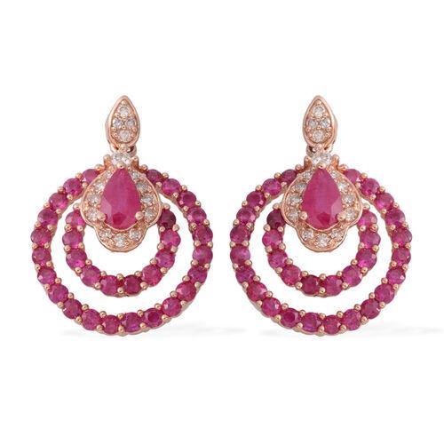 14K Rose Gold AAA Burmese Ruby (Pear), Diamond (G-H/I1-I2) Earrings (with Push Back) 2.010 Ct. Gold