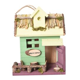 Handmade Wooden Bird House (Size 19x13x24 Cm) - Green