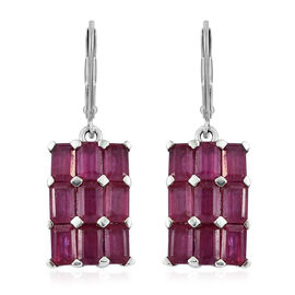 African Ruby (Oct) Earrings in Platinum Overlay Sterling Silver 8.000  Ct.