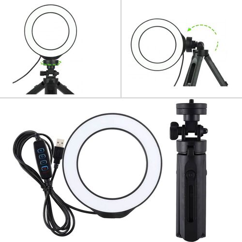 3 Modes Dimmable LED Ring Light with Tripod Stand