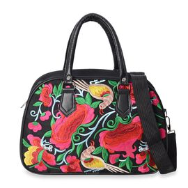 Black and Multi Colour Floral and Bird Embroidered Tote Bag with Detachable Shoulder Strap and Zippe