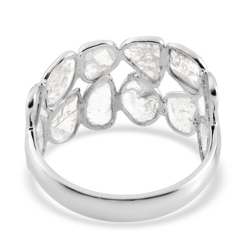 Artisan Crafted Natural Polki Diamond Ring in Platinum Overlay Sterling Silver 1.20 Ct.