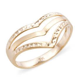 Royal Bali Collection - 9K Yellow Gold Triple Wishbone Diamond Cut Ring