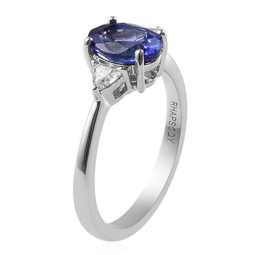 RHAPSODY 950 Platinum AAAA Tanzanite and Diamond (VS/E-F) Ring 1.55 Ct.