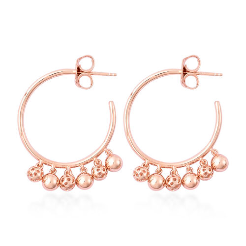 RACHEL GALLEY Bold Lattice Collection - Rose Gold Overlay Sterling Silver Dangling Lattice Ball Earrings (with Push Back), Silver wt. 8.64 Gms