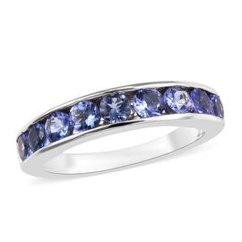 9K White Gold AA Tanzanite (Rnd) Half Eternity Band Ring 1.15 Ct.
