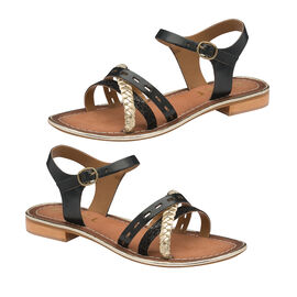 Ravel Cudal Leather Flat Sandals in Black Colour