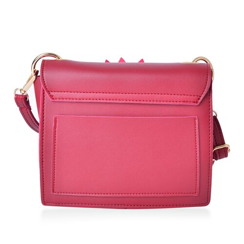 Sunflower Adorned Red Colour Crossbody Bag with Adjustable and Removable Shoulder Strap (Size 19x17x6.5 Cm)