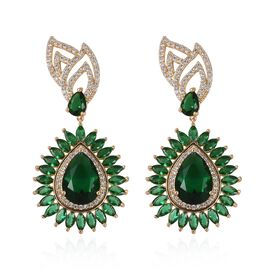 Simulated Emerald and Simulated Diamond Halo Drop Earrings in Gold Tone