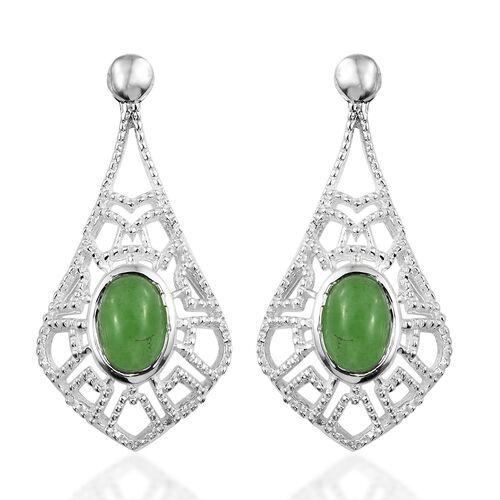 Designer Inspired-Green Jade (Ovl) Earrings in Sterling Silver 1.750 Ct. Silver wt 3.44 Gms.