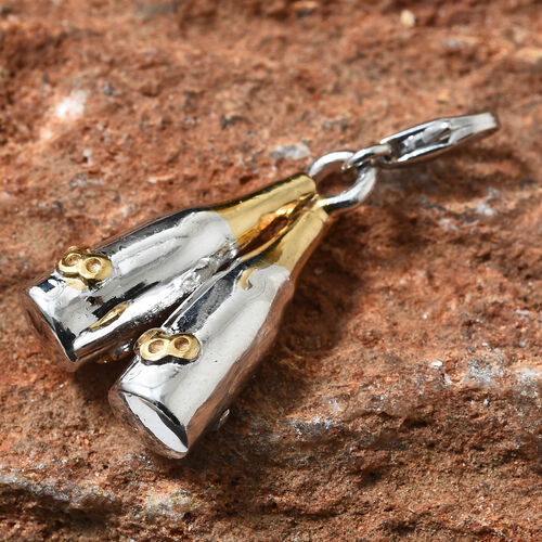 Platinum and Yellow Gold Overlay Sterling Silver Twin Champagne Bottle Charm, Silver wt 7 Gram.