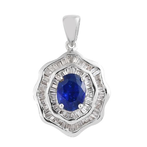 Designer Inspired Very Rare Blue Spinel (Ovl 8x6mm, 1.35 Ct), Diamond Pendant in Platinum Overlay Sterling Silver 1.850 Ct., No. of Gemstones 100pcs