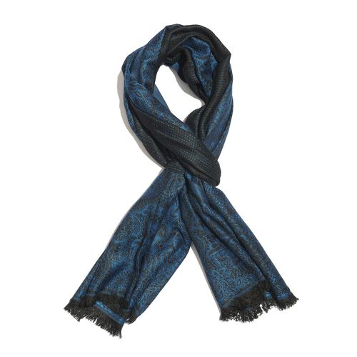 Blue and Black Colour Floral Pattern Scarf (Size 180x70 Cm)