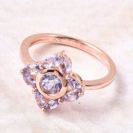 Isabella Liu Floral Collection - Tanzanite Floral Ring in Rose Gold Overlay Sterling Silver