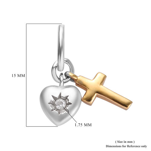 Natural Cambodian Zircon Heart Cross Pendant in Platinum and Yellow Gold Overlay Sterling Silver