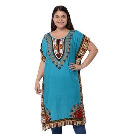 100% Cotton Sky Blue Colour Africa Addio Pattern Poncho (Size 104x73.6 Cm)