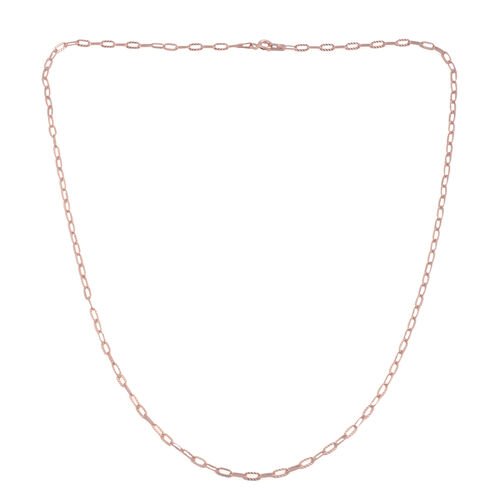 Vicenza Collection Rose Gold Overlay Sterling Silver Diamond Cut Drop Slash Chain (Size 20)