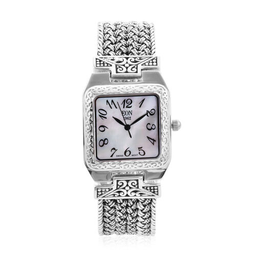 Royal Bali Collection - EON 1962 Swiss Movement Water Resistant Bracelet Watch (Size 6.75) in Sterli
