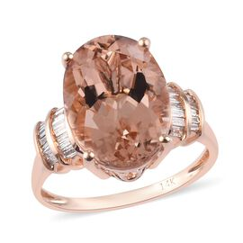 Signature Collection 6 Carat Marropino Morganite and Diamond Solitaire Ring in 14K Rose Gold I2 GH