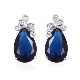 Simulated Diamond and Simulated Blue Sapphire Stud Earrings in Sterling Silver