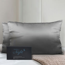 Set of 2 - 100% Mulberry Silk Pillowcase (Size:50x75cm) - Dark Grey