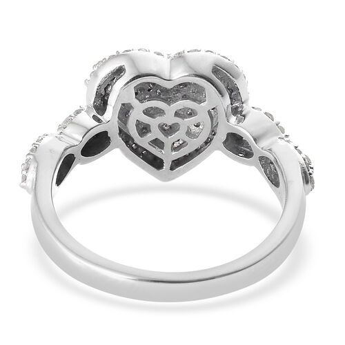 Diamond (Rnd) Heart Ring in Platinum Overlay Sterling Silver Number Of Diamond 115
