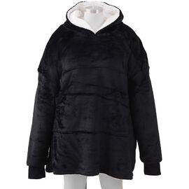 Super Auction - Flannel Sherpa Family Blanket Sweatshirt (Size 85x90 Cm) - Black