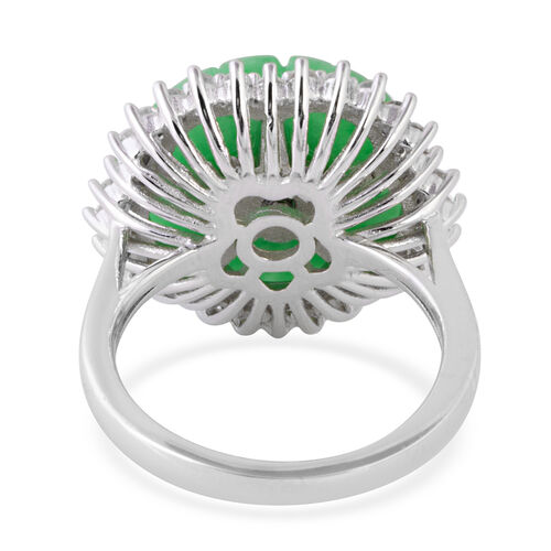 Green Jade, Natural Cambodian White Zircon and Russian Diopside Flower Ring in Rhodium Overlay Sterling Silver 10.810 Ct.