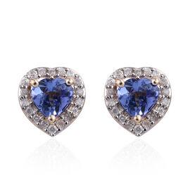 9K Yellow Gold AA Tanzanite (Hrt), Diamond Stud Earrings (with Push Back) 1.000 Ct.