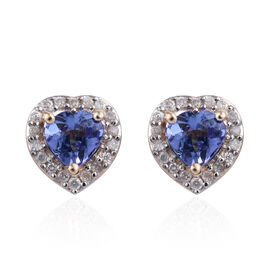 9K Yellow Gold AA Tanzanite (Hrt), Diamond Stud Earrings (with Push Back) 1.000 Ct.