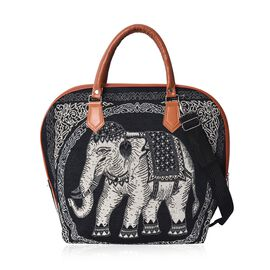Elephant Pattern Tote Bag with Detachable Shoulder Strap and Zipper Closure (Size 42x38x20 Cm) - Bla