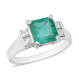 Signature Collection - 900 Platinum AAAA Boyaca Colombian Emerald (Oct 8x7.5mm), Diamond (SI/H) Ring