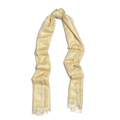 Cream Colour Scarf with Gold Colour Lurex (Size 180x70 Cm)