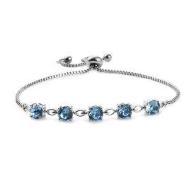 J Francis - Crystal From Swarovski Aquamarine Crystal (Rnd) Bolo Bracelet (Size 6.5 - 9.5 Adjustable) in Silver Plated