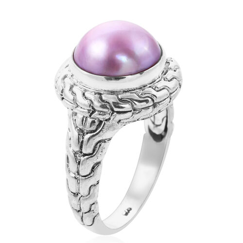 Royal Bali Collection - Pink Mabe Pearl Ring in Sterling Silver, Silver wt 8.25 Gms