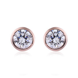 J Francis Made with Swarovski Zirconia Solitaire Stud Earrings in Rose Gold Plated Sterling Silver