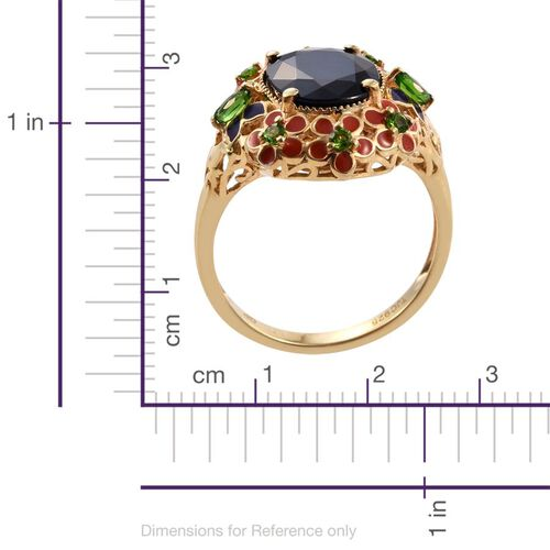 GP Kanchanaburi Blue Sapphire (Ovl 6.00 Ct), Russian Diopside Floral Ring in 14K Gold Overlay Sterling Silver 6.420 Ct.