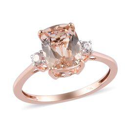 9K Rose Gold AA Pink Morganite and Natural Cambodian Zircon Ring 2.06 Ct.