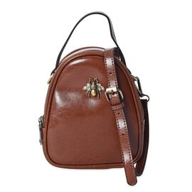 100% Genuine Leather Bee Crossbody Bag with Detachable Strap (Size 13x7x19 Cm) - Brown