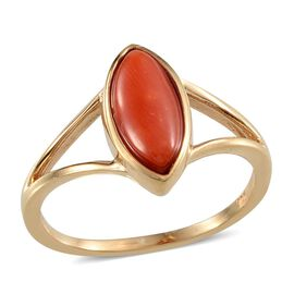 Mediterranean Coral (1.65 Ct) 14K Gold Overlay Sterling Silver Ring  1.650  Ct.