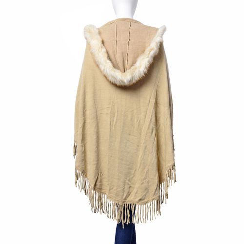 Beige Colour Ruana, Cap and Collar with Faux Fur Edge and Tassels (Free Size)