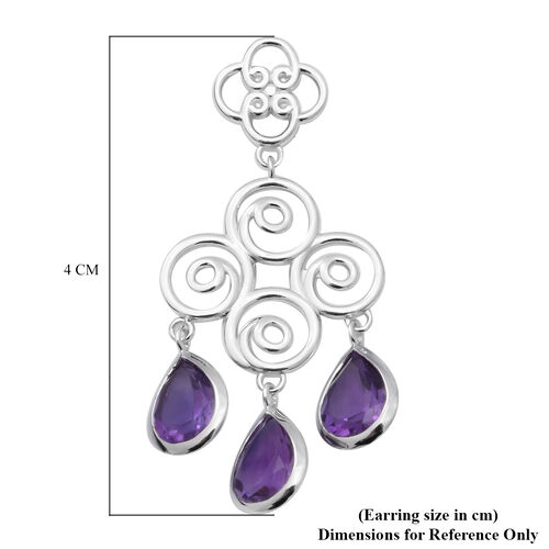 Lusaka Amethyst Dangle Earrings (with Push Back) in Rhodium Overlay Sterling Silver 5.94 Ct.