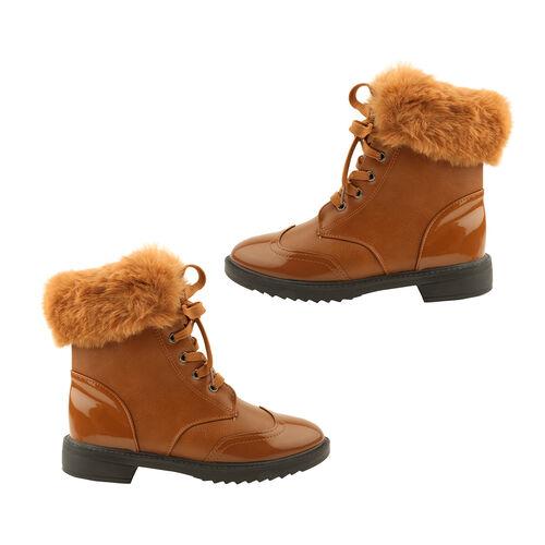 Warm Faux Fur Ankle Boots (Size 6) - Camel