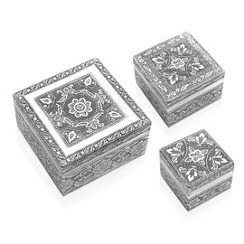 Set of 3 - Handcrafted Mandala Embossed Nested Box with Maroon Velvet Lining (Size L-12x12x6.3/ M-8.
